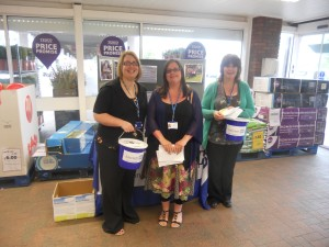 Sarah, Claire and Siobhan from the Trust raising awareness at the local Tesco store.