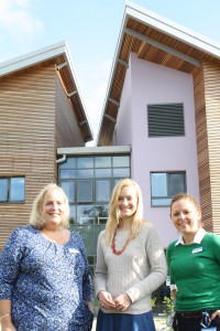 Teacher Jackie Wheatley, with Nicola Blackwood MP and Francine Tutty, clinical nurse lead