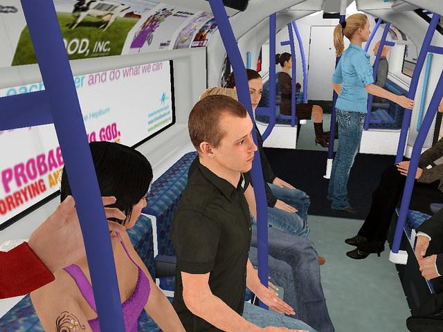 Virtual reality image inside a train