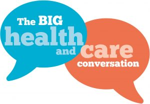 Logo with text saying the BIG health and care conversation