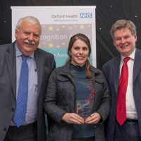 Picture of Rianna Jeffery with Chief Executive Stuart Bell CBE and Chairman Martin Howell