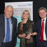 Picture of Jacqui Sayers with Chief Executive Stuart Bell CBE and Chairman Martin Howell