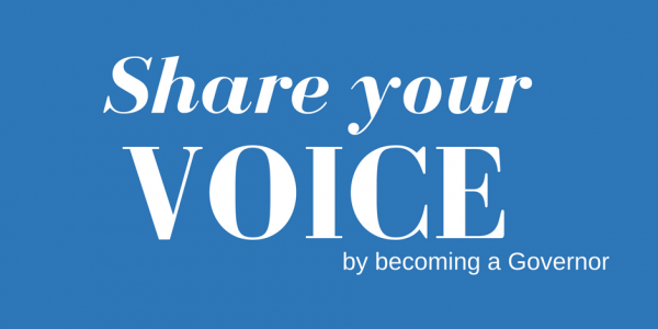 Text saying share your voice by becoming a governor.