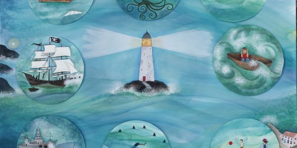 Painting of lighthouse on sea