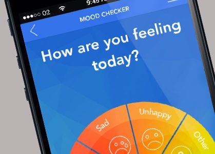 Phone of Mood Checker section of BlueIce app running on a smartphone.