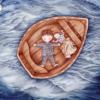 Illustration of two children on boat