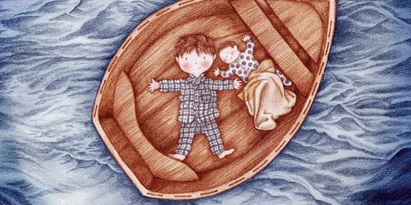 Illustration of two children on boat