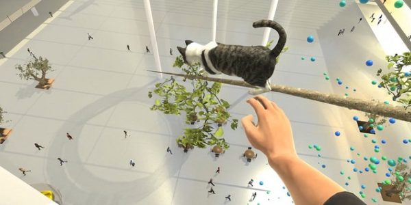 VR depiction of cat on high branch with hand reaching out