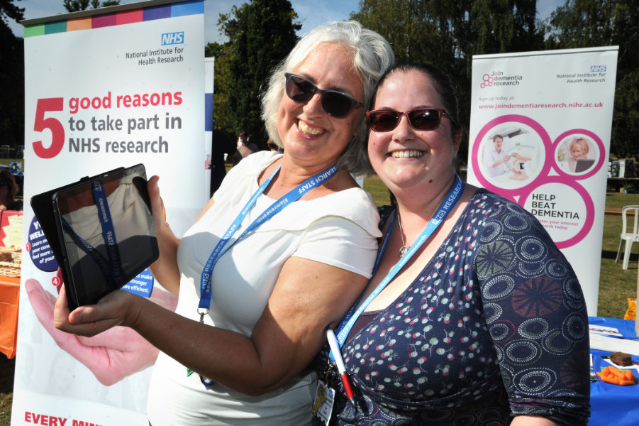 The Oxford Health Charity's Healthfest 2019 at The Warneford Hospital, Oxford.Oxford Health clinical research assistant Kazminder Fox, left, and research assistant practitioner Zoe Collett.