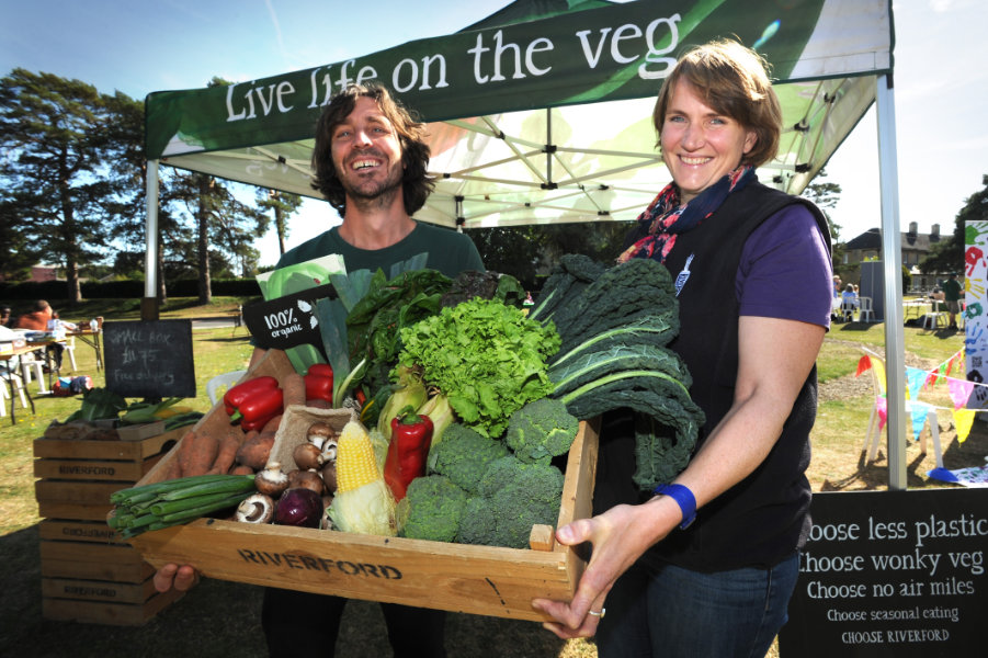 The Oxford Health Charity's Healthfest 2019 at The Warneford Hospital, Oxford. Jake Swinhoe and Kirstin Ashton of Riverford Organic Farmers.
