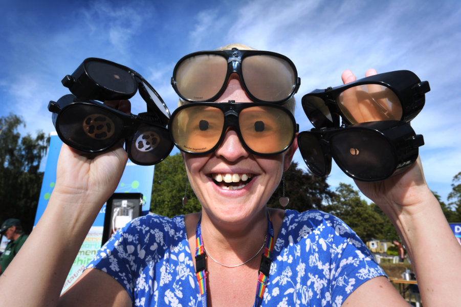The Oxford Health Charity's Healthfest 2019 at The Warneford Hospital, Oxford. Rebecca Elsworth with glasses which simulate various eye conditions.