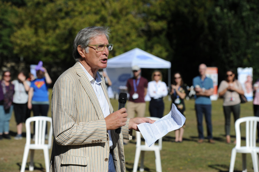 Healthfest 2019 at The Warneford Hospital, Oxford.  David Walker, Chairman of the Oxford Health NHS Foundation Trust, making the opening address.