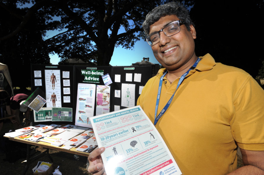 The Oxford Health Charity's Healthfest 2019 at The Warneford Hospital, Oxford. Lead physiotherapist Venkat Narayanan.