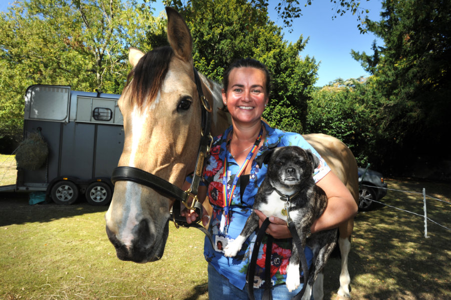 The Oxford Health Charity's Healthfest 2019 at The Warneford Hospital, Oxford. Patient experience and involvement team manager Donna Mackenzie-Brown with her horse Rosie and 'pat dog' Roxy.