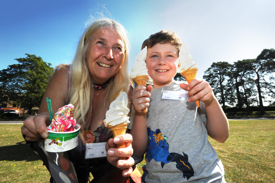 The Oxford Health Charity's Healthfest 2019 at The Warneford Hospital, Oxford.Mary Bowles and eight-year-old Ben Wade tppk a break from the Butterfly Conservation stand to buy ice creams.