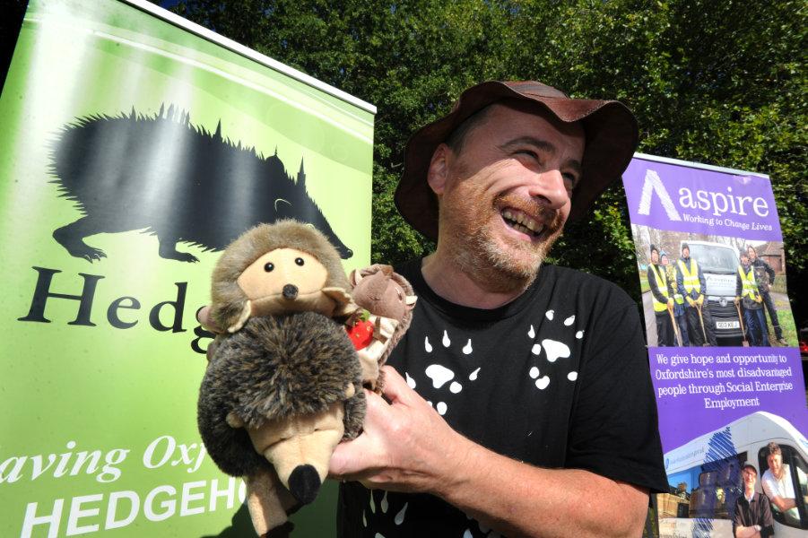 The Oxford Health Charity's Healthfest 2019 at The Warneford Hospital, Oxford.Hedgehog fan Hugh Warwick of HedgeOX.