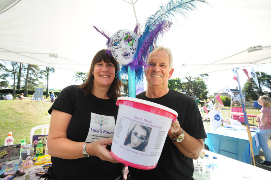 The Oxford Health Charity's Healthfest 2019 at The Warneford Hospital, Oxford. Lesley and Neil Gordon were publicising a masked ball for the Lucy's Room charity.