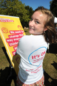 The Oxford Health Charity's Healthfest 2019 at The Warneford Hospital, Oxford. Hannah-Louise Toomey of Time To Change.