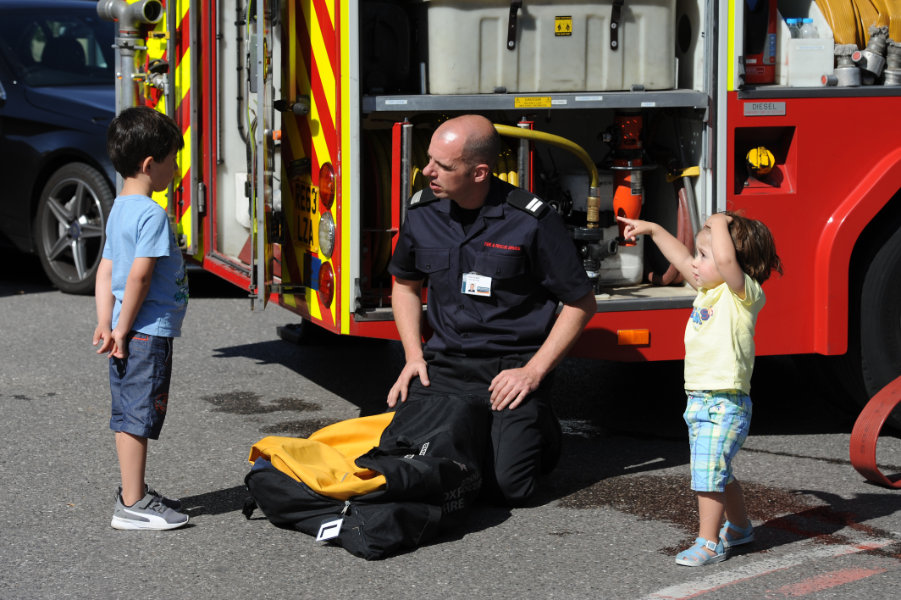 The Oxford Health Charity's Healthfest 2019 at The Warneford Hospital, Oxford.Oxfordshire County Council's Fire and Rescue Service fire engine proved a popular attraction.