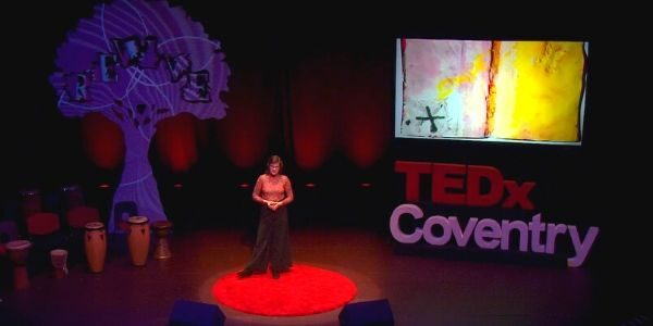 Screen capture from video of Lorna Collins delivering TEDx talk.