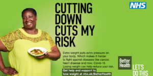 NHS poster about cutting down weight related risks