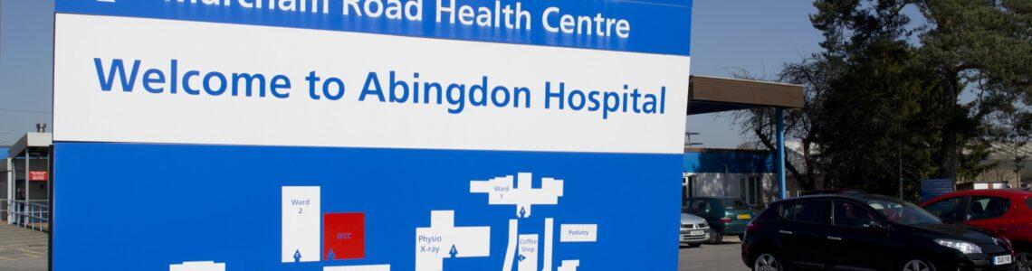 Photo of sign at entrance of Abingdon Hospital