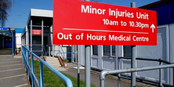 Photo of sign at entrance to the Minor Injuries Unit