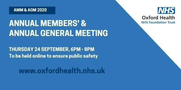 Poster for Oxford Health's 2020 AGM