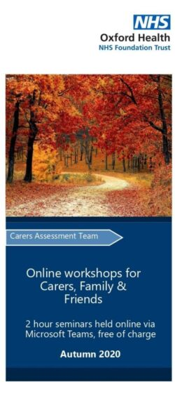 Leaflet online workshops for carers, family and friends