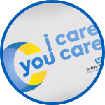 "Oxford Health ""I care you care"" logo."