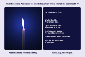 Light a candle near a window at 8pm on September 10 to raise awareness of the world suicide prevention day.