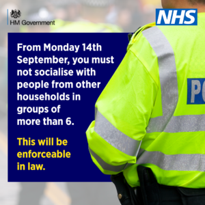 You must not socialise with people from other households in groups of more than six.