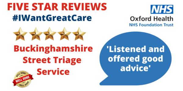 5 stars for Buckinghamshire Street Triage Service