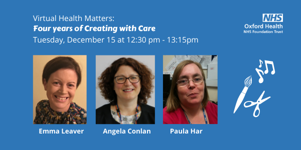 Health matters event advert with Emma Leaver, Angela Conlan and Paula Har