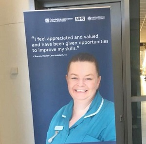 Sharon Chandler in care work advrtising campaign