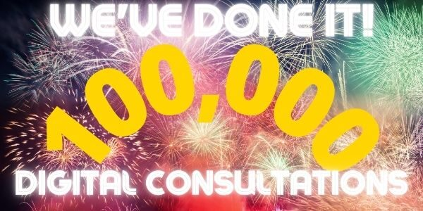 Picture of fireworkd with text: We've done it - 100,000 digital consultations