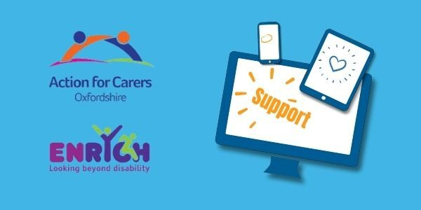 Image of digital devices with ENrych and Action for Carers logos