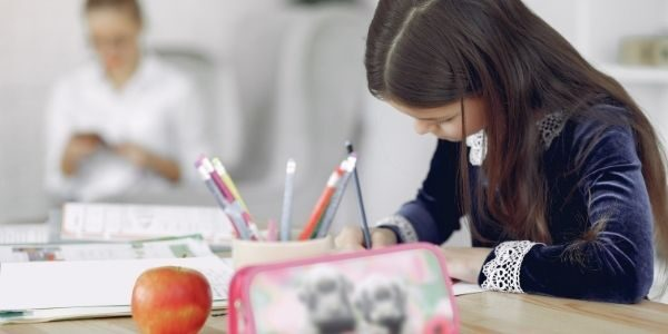 Child working in a classroom