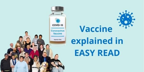 Photo of a group of people and a phial of coronavirus vaccine