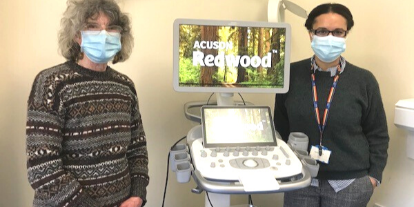Jo Graves and Annette Morton with Chipping Norton ultrasound equipment