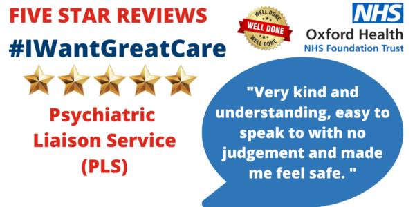 Patients praising our five star psychiatric team