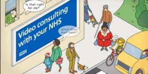 Consulting with your NHS - animatino of a busy street scene