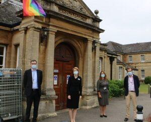 Dr James Kent, Amanda Pritchard, Debbie Richards and Dr Nick Broughton in front of Warneford Hospital.