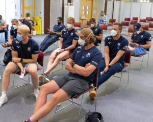 Rowers in waiting area