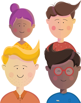 Illustration of four young people who might access our services.